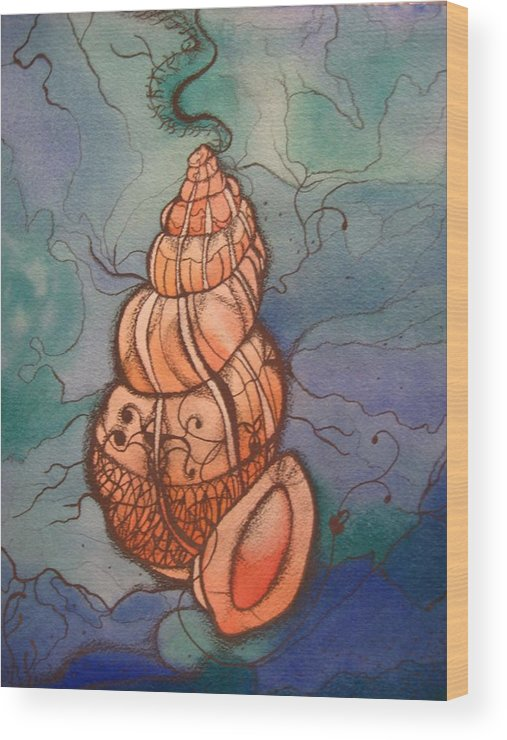 Sea Shell Wood Print featuring the painting Sea Shell by Theodora Dimitrijevic