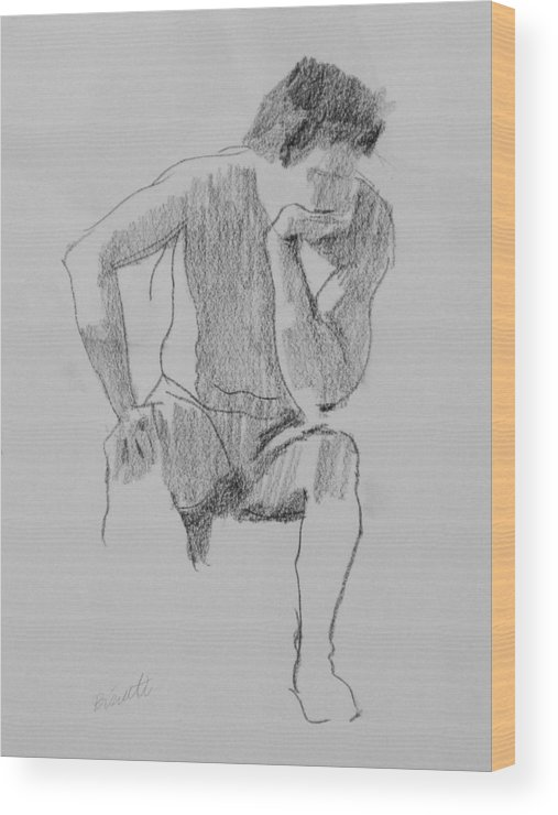 Life Wood Print featuring the drawing Seated Nude 3 by Robert Bissett