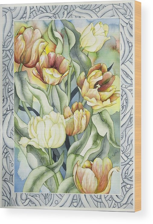 Flowers Wood Print featuring the painting Secret World I by Liduine Bekman