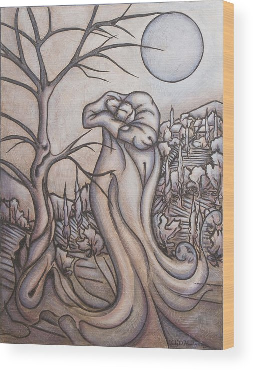 Dream. Moon Wood Print featuring the painting Secrets And Dreams by Judy Henninger