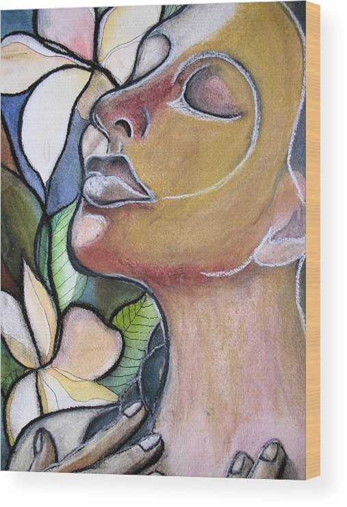 Woman Wood Print featuring the painting Self-healing by Kimberly Kirk