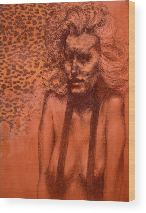 Woman Wood Print featuring the drawing Self Portrait by J Oriel