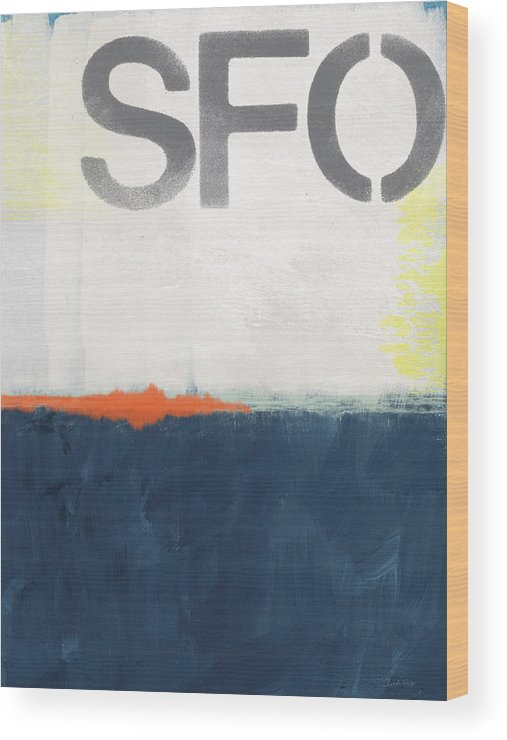 Sfo Wood Print featuring the painting Sfo- Abstract Art by Linda Woods
