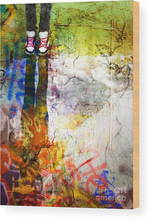 Shoes Wood Print featuring the photograph She Lives In A Box Of Paint by Tara Turner