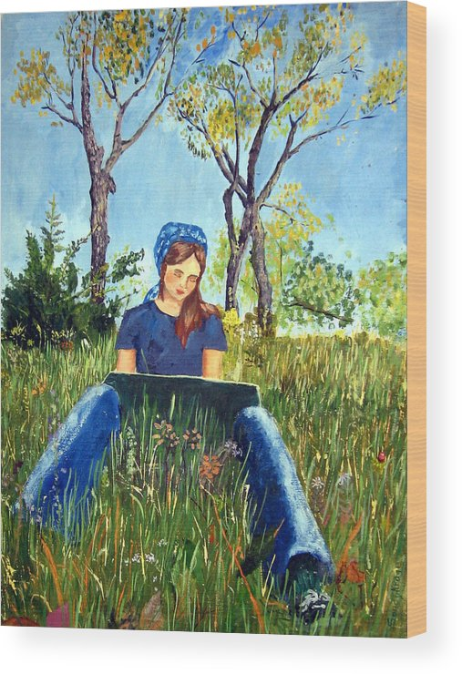 Nature Wood Print featuring the painting She Paints At The Lake by Sandy Krage