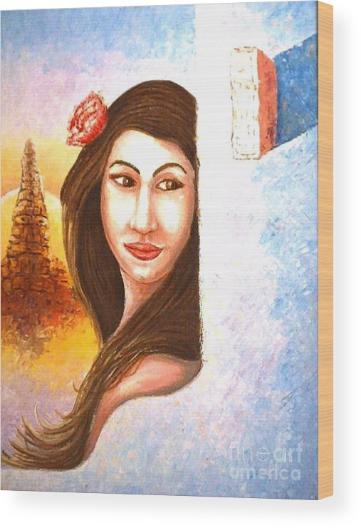 Portrait Wood Print featuring the painting Shy Thoughts by Santiago Chavez