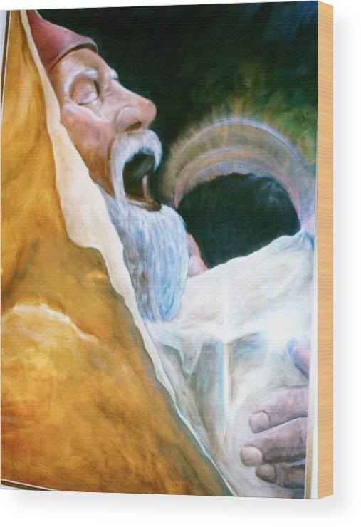 Spiritual Wood Print featuring the painting Simeon And His Salvation by Carolyn Sylvester