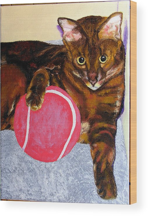 Cat Wood Print featuring the painting Simon by Stan Hamilton