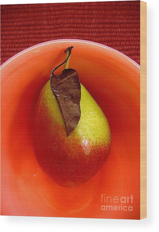 Nature Wood Print featuring the photograph Single Pear In A Bowl by Lucyna A M Green