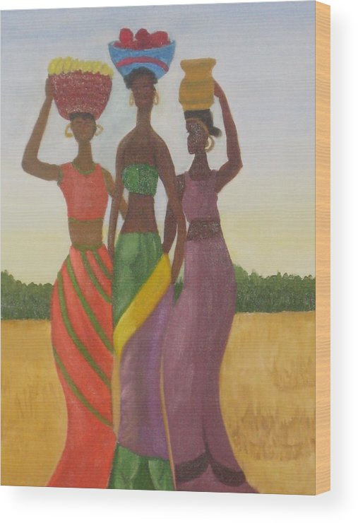 Women Wood Print featuring the painting Sisters by AVK Arts