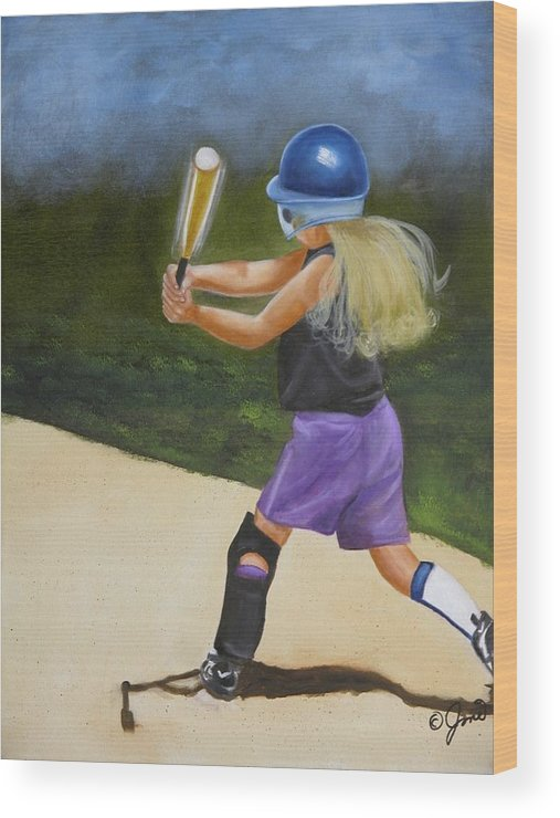 Child Wood Print featuring the painting Slugger by Joni McPherson