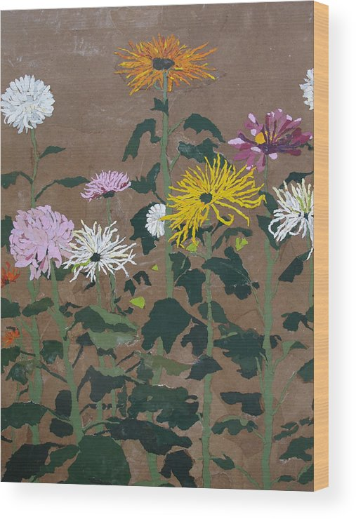 Collage Wood Print featuring the painting Smith's Giant Chrysanthemums by Leah Tomaino