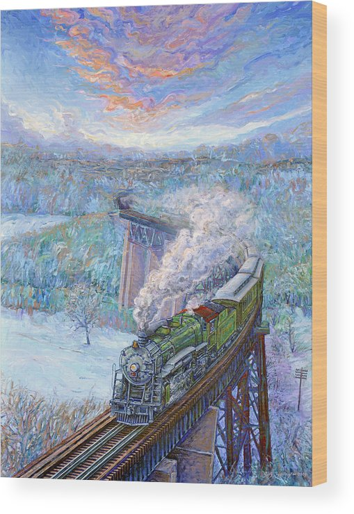 Train Wood Print featuring the painting Southern Over The Cumberland by Gary Symington
