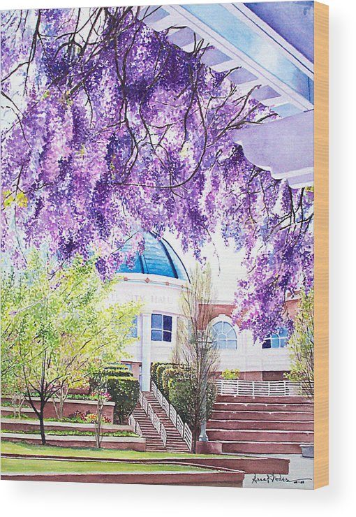 Wisteria Wood Print featuring the painting Spring At City Hall by Anne Rhodes