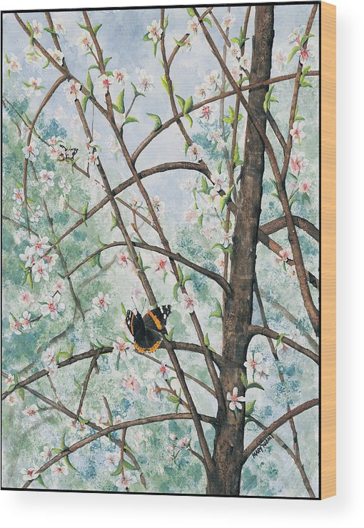 Butterfly Wood Print featuring the painting Spring Blossom by Mary Tuomi