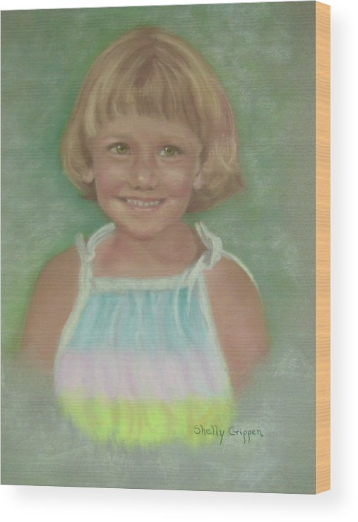 Child Wood Print featuring the painting Stephanie by Shelly Crippen