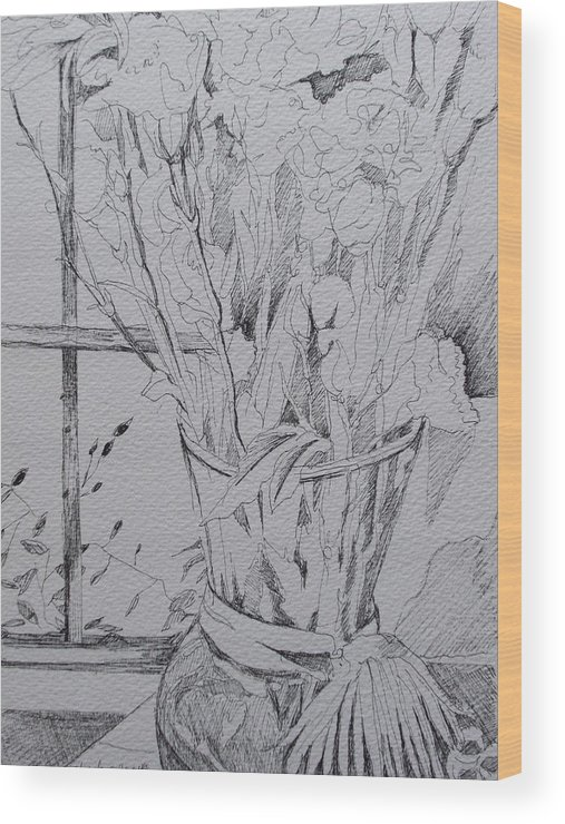 Wood Print featuring the drawing Still Life With Vase by Aleksandra Buha