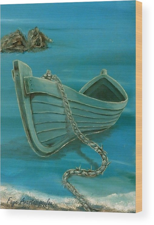 Boat Wood Print featuring the painting Stranded by Faye Anastasopoulou