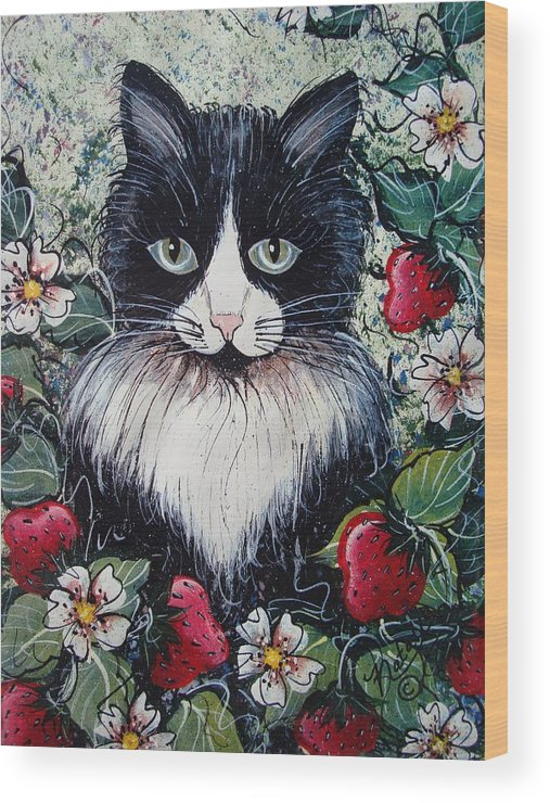 Cat Wood Print featuring the painting Strawberry Lover Cat by Natalie Holland