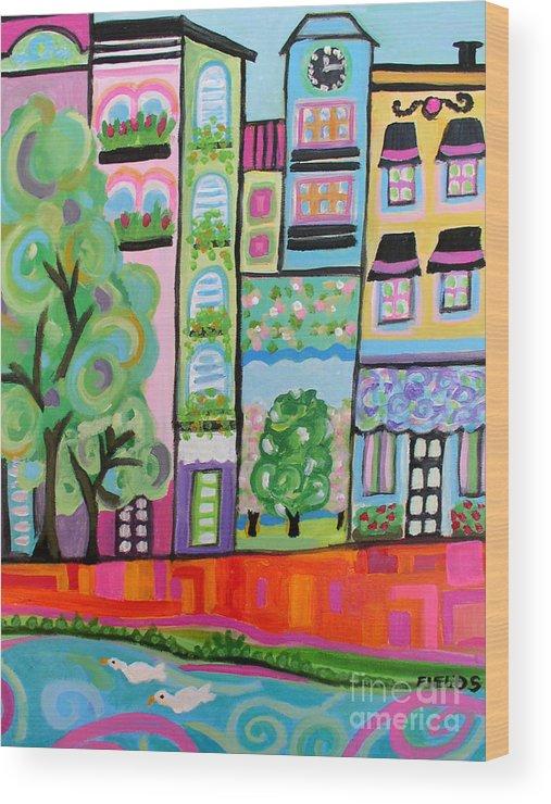 Folk Wood Print featuring the painting Summer Park by Karen Fields