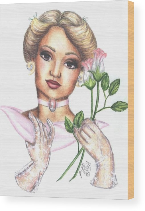 Portrait Wood Print featuring the drawing Summer Rose by Scarlett Royal