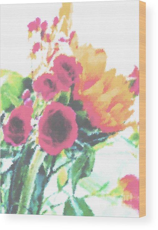 Summer Wood Print featuring the photograph Summertime Blooms by Susan Lipschutz