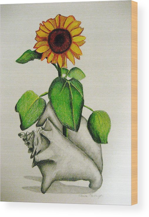 Sunflower Wood Print featuring the mixed media Summertime by Marita McVeigh