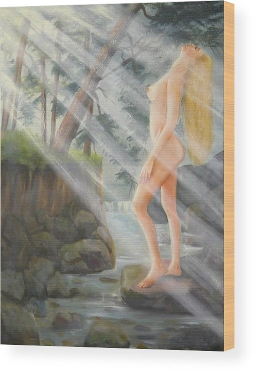 Nude Wood Print featuring the painting Sunbeams by Joni McPherson