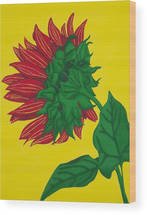 Flower Wood Print featuring the painting Sunflower Yellow by Vlasta Smola