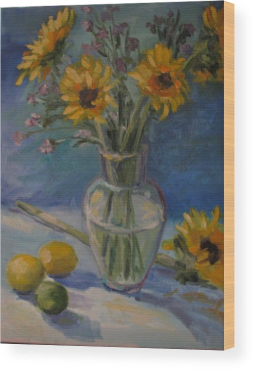 Still Life Wood Print featuring the painting Sunflowers And Citrus by Sharon Franke