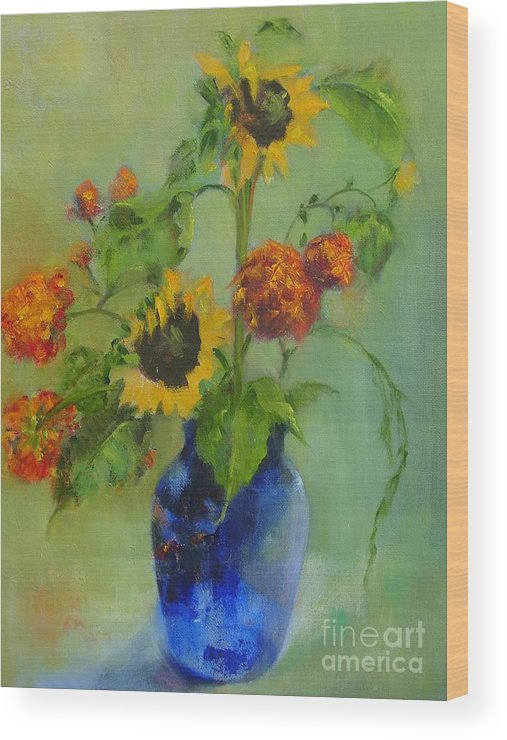 Contemporary Floral Wood Print featuring the painting Sunflowers In Blue     Copyrighted by Kathleen Hoekstra