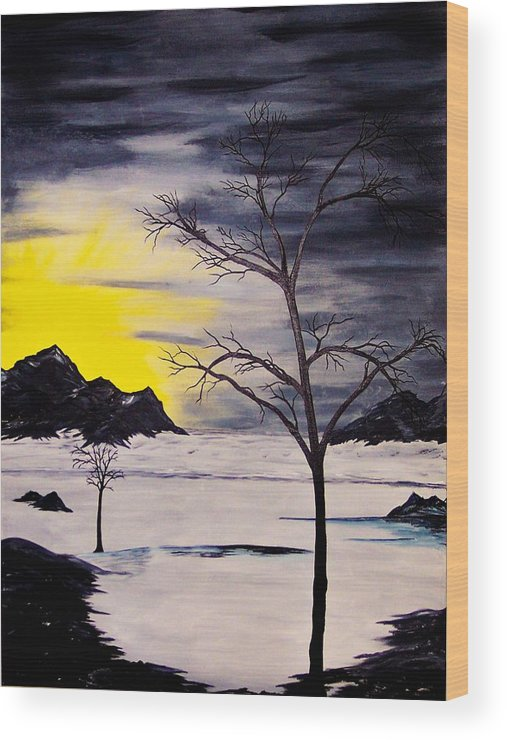 Original Wood Print featuring the painting Sunset Kronos 3 by J Ringo