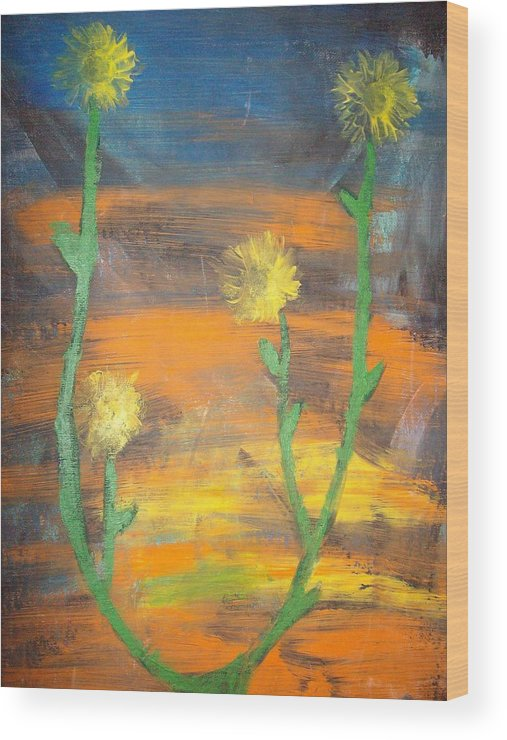 Sunset Wood Print featuring the painting Sunset Sunflower by Samantha Gilbert