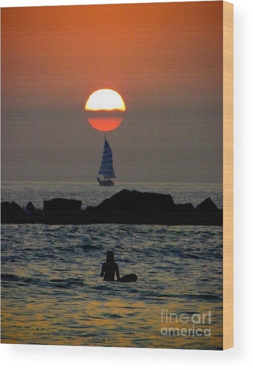 Sunset Wood Print featuring the photograph Sunset With Yacht And Surfer by Henry Murray