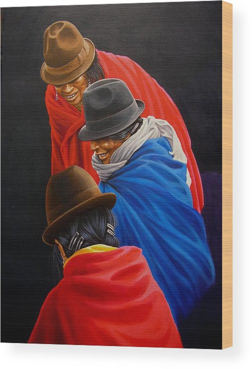 Fotorealism Wood Print featuring the painting Susurros by Laine Garrido