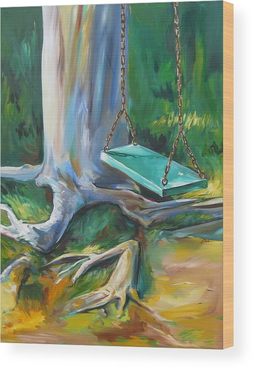 Swing Wood Print featuring the painting Swing by Karen Doyle