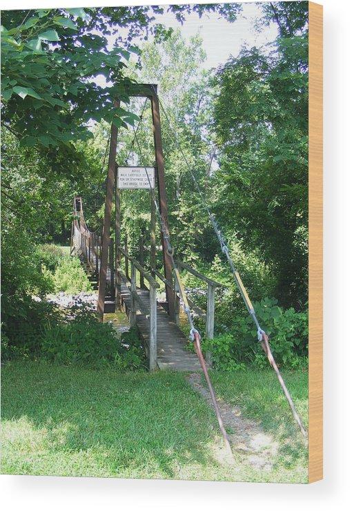 Bridge Wood Print featuring the photograph Swinging Bridge by Eddie Armstrong