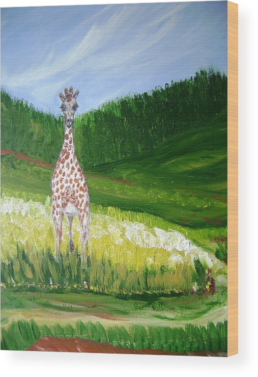 Giraffe Wood Print featuring the painting Taking In The View by Laura Johnson