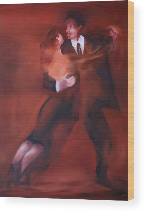 Tango Wood Print featuring the painting Tango No.1 by Harri Spietz