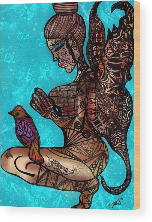 Zentangle Wood Print featuring the digital art Tattoo Fairy by Aixa Olivo