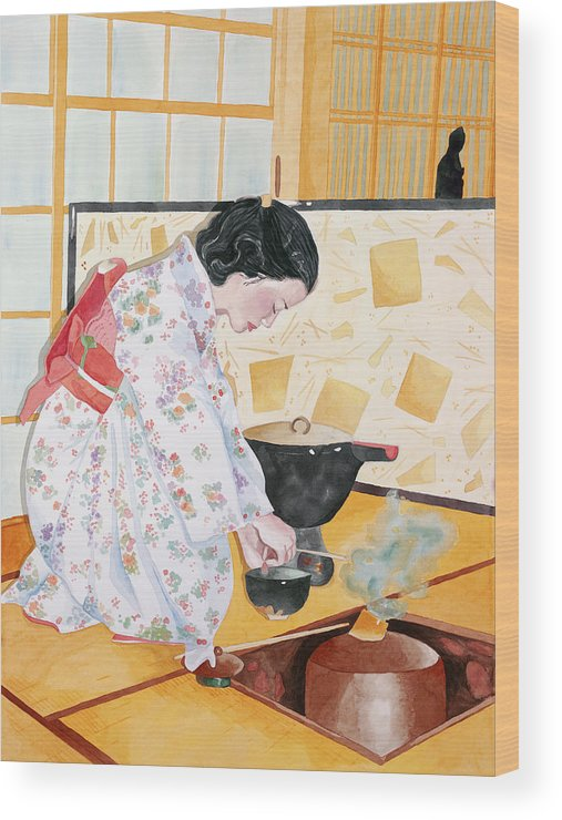 Japanese Woman Performing Tea Ceremony Wood Print featuring the painting Tea Ceremony by Judy Swerlick