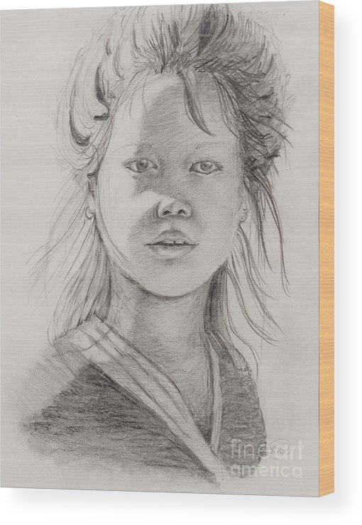 Portrait Wood Print featuring the drawing Thai Beauty by Nadine Rippelmeyer