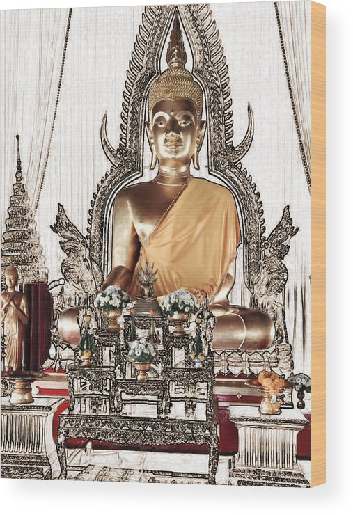 Thailand Wood Print featuring the photograph Thailand Gold Buddha by Karla Beatty