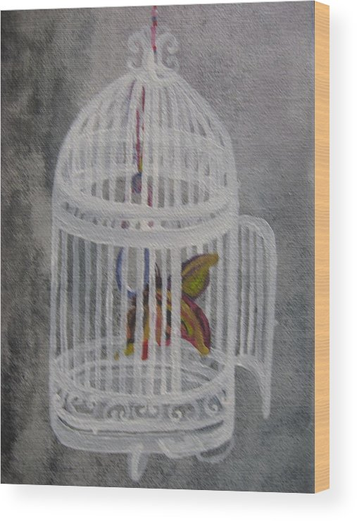 Butterfly Wood Print featuring the painting The Bird Cage by Theodora Dimitrijevic