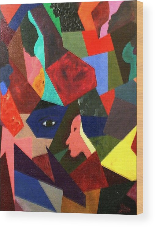 Geometric Art Wood Print featuring the painting The Birth by Guillermo Mason