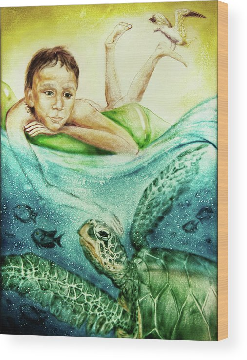 Russian Artists New Wave Wood Print featuring the painting The Boy And The Turtle by Elena Vedernikova