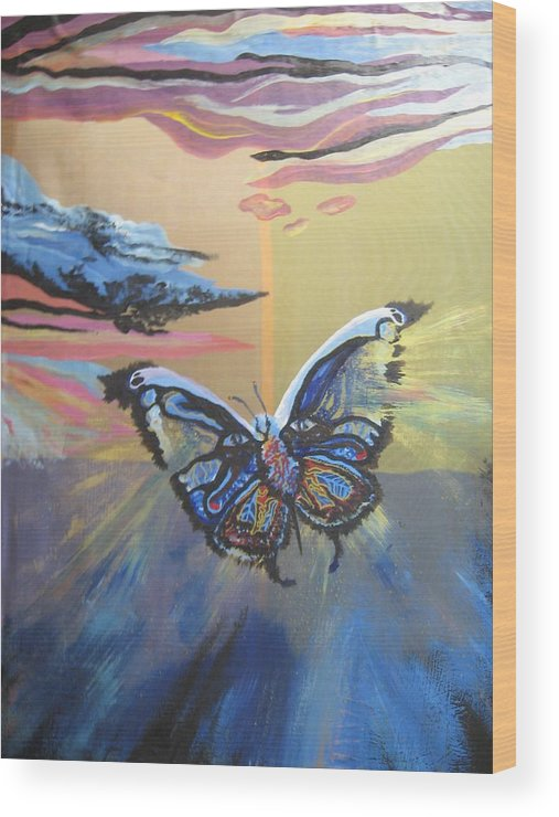 Butterfly Wood Print featuring the painting The Butterfly by Theodora Dimitrijevic