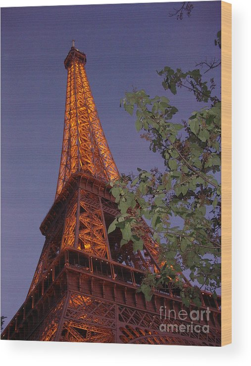 Tower Wood Print featuring the photograph The Eiffel Tower Aglow by Nadine Rippelmeyer