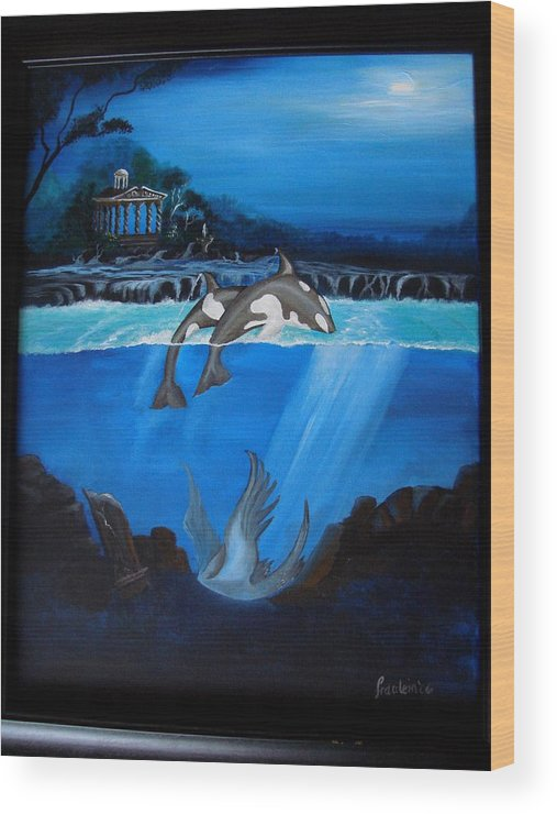 Seascape Wood Print featuring the painting The Fallen by Glory Fraulein Wolfe