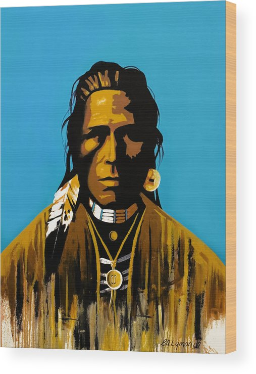 American Indian Portraiture Wood Print featuring the painting The First American by Brooke Lyman